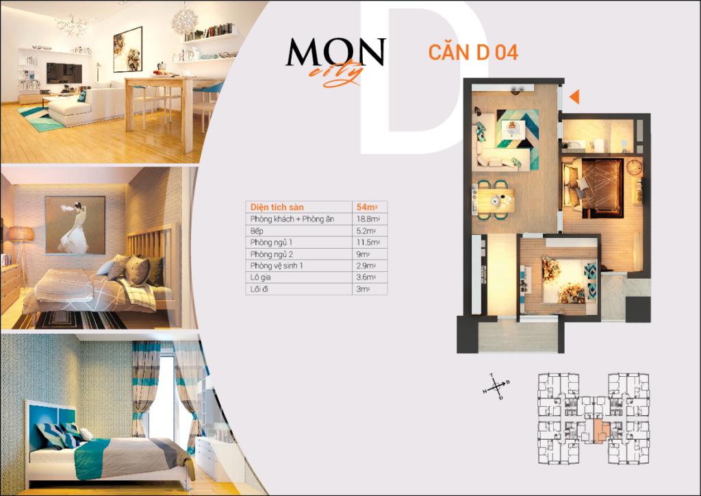 căn D-04 chung cư HD Mon City