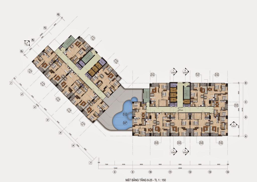 mặt bằng tầng 8-25 chung cư the garden hill