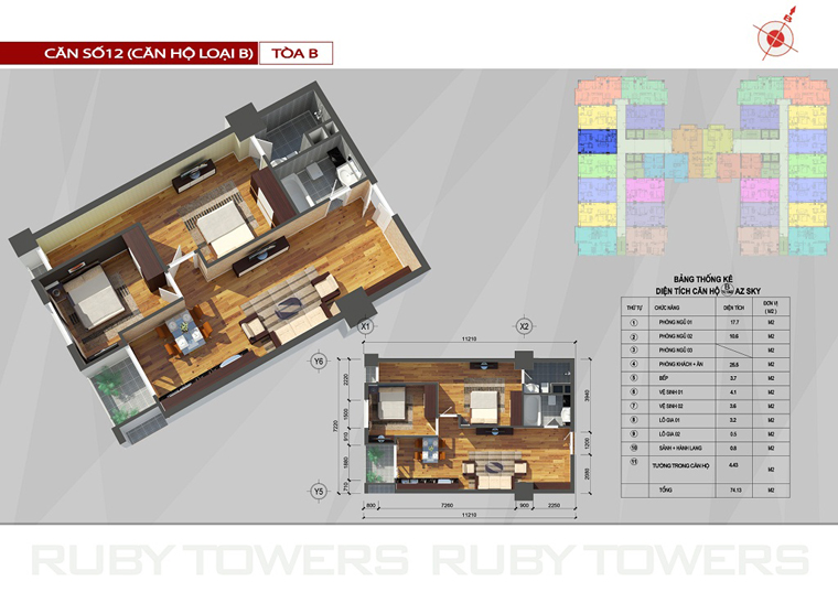 Chung cư Ruby Tower căn số 3A-12B