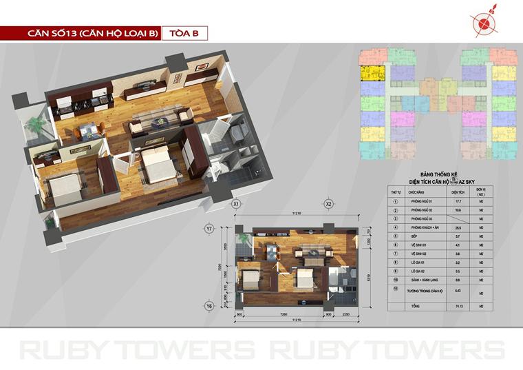 Chung cư Ruby Tower căn số 2A-13B