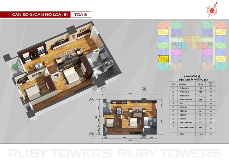 Chung cư Ruby Tower căn số 6A-9B