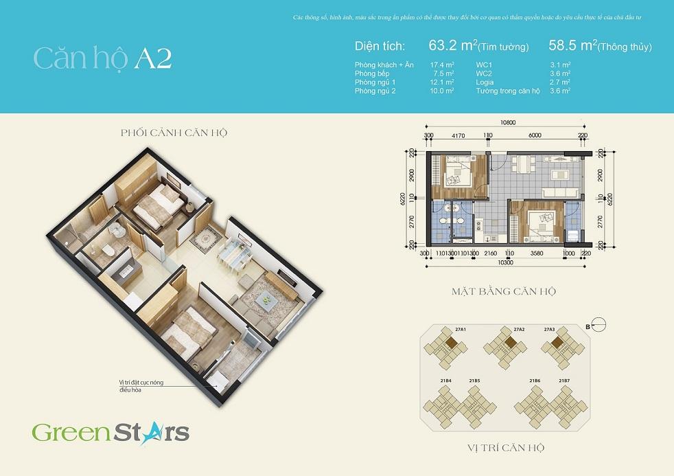 Thiết kế căn hộ A2 chung cư Green Stars