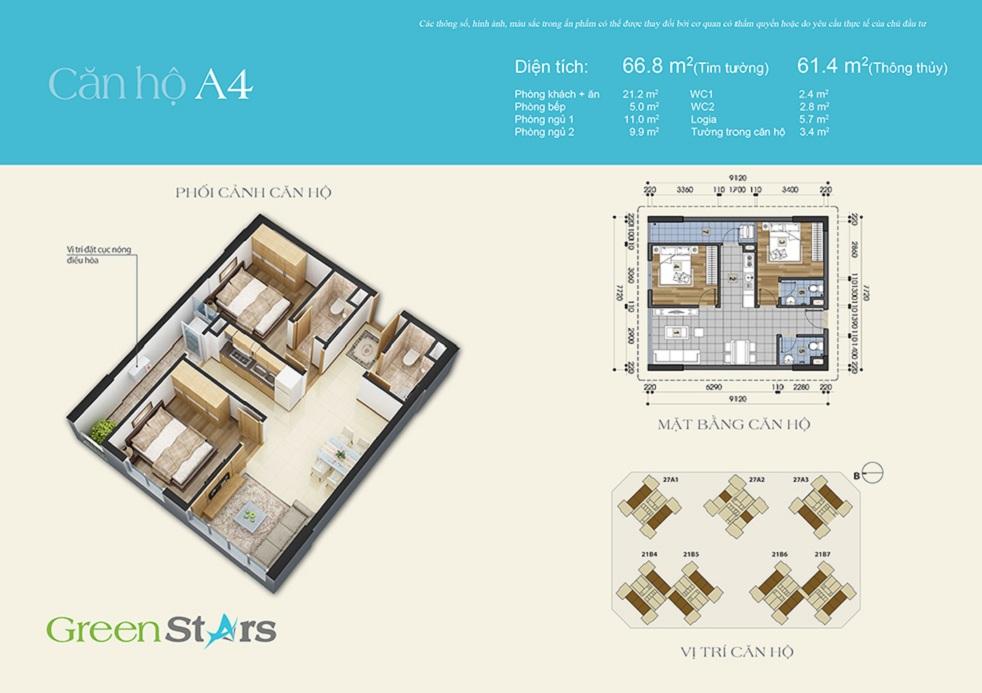 Thiết kế căn hộ A4 chung cư Green Stars