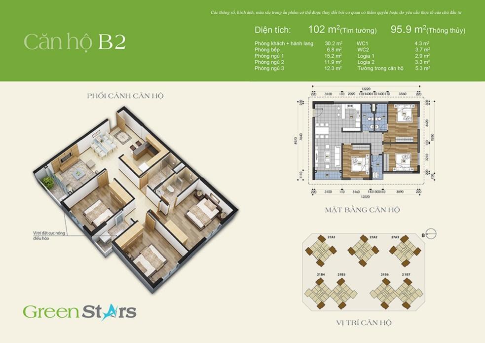Thiết kế căn hộ B2 chung cư Green Stars
