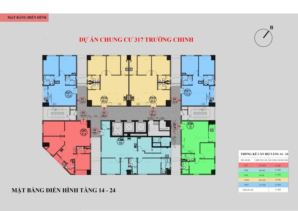 Mặt bằng chung cư 317 Trường Chinh tầng 14 - 24