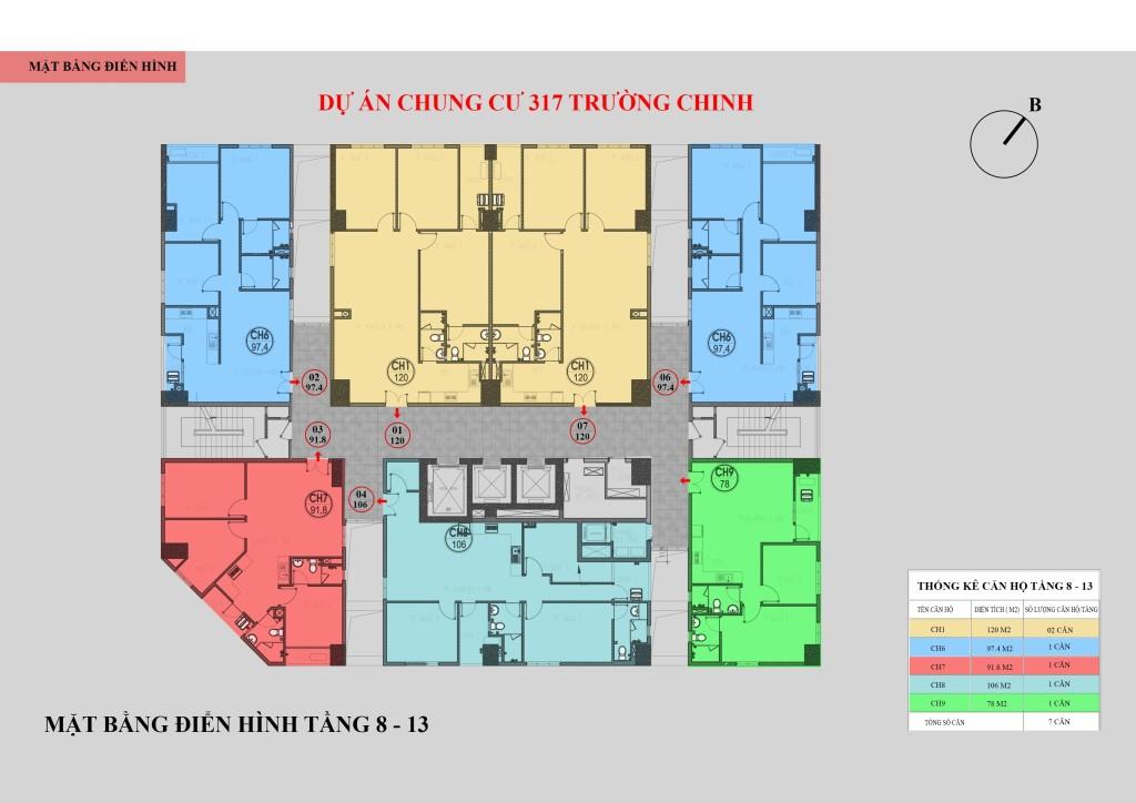 Mặt bằng chung cư 317 Trường Chinh tầng 8 - 13