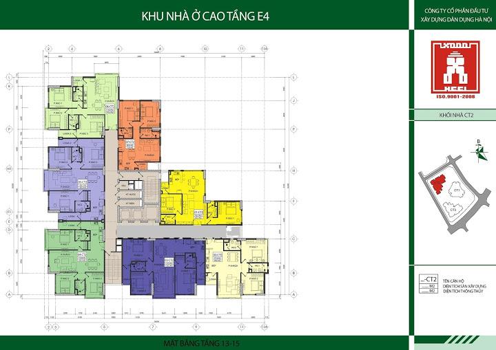 Mặt bằng tầng 13-15 tòa CT2 chung cư E4 Yên Hoà
