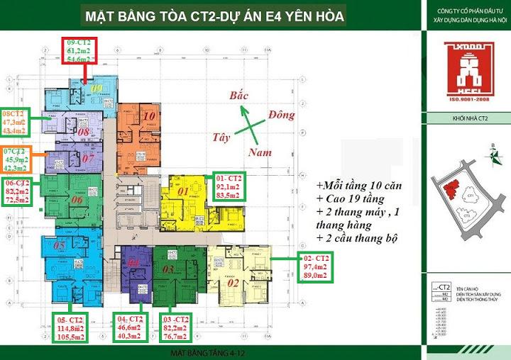 Mặt bằng tầng 4-12 tòa CT2 chung cư E4 Yên Hoà