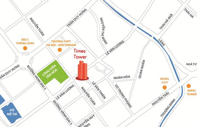 Vị trí chung cư Times Tower HACC1 Lê Văn Lương