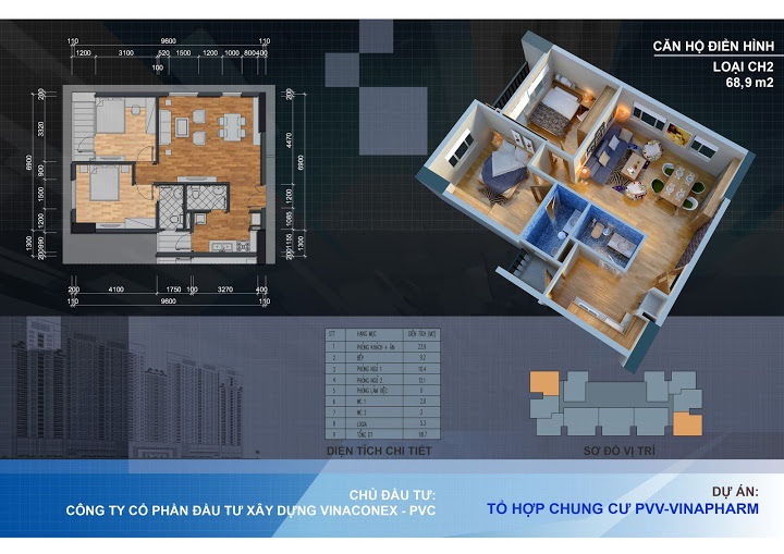 Thiết kế căn hộ CH2 - 68.9m2