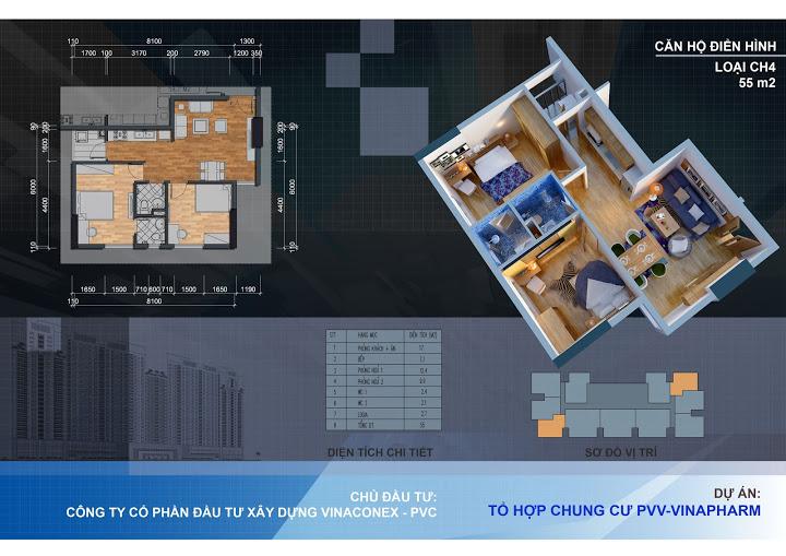 Thiết kế căn hộ CH4 - 55m2