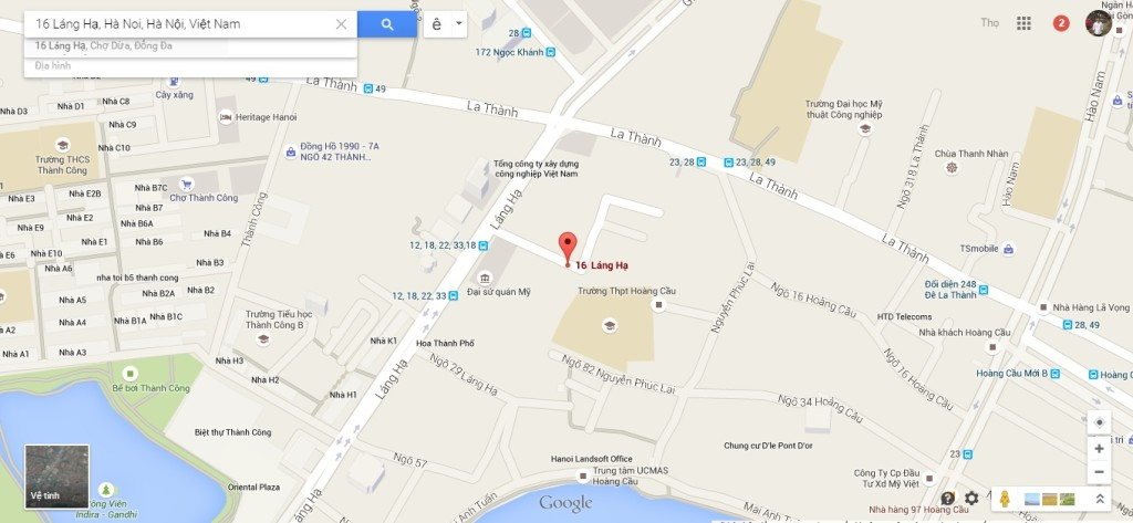 Vị trí chung cư Oriental Plaza 16 Láng Hạ