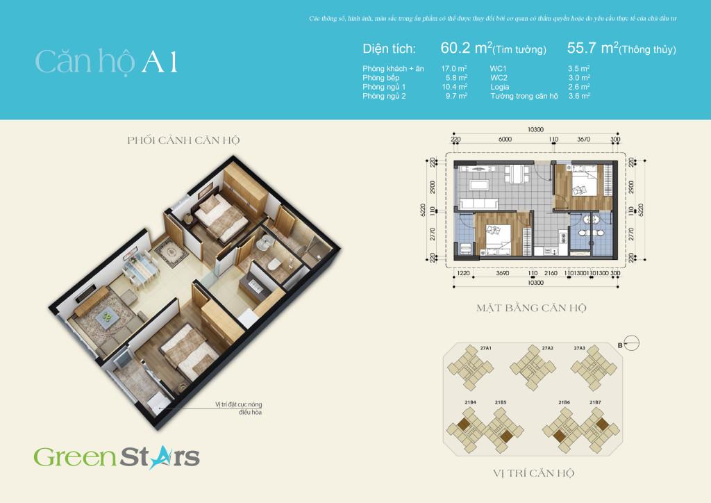 Cho thuê căn hộ A1 chung cư Green Stars 234 Phạm Văn Đồng