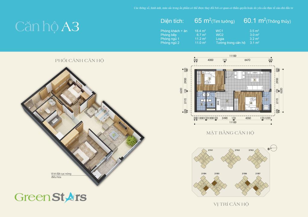 Cho thuê căn hộ A3 chung cư Green Stars 234 Phạm Văn Đồng