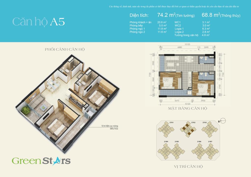 Cho thuê căn hộ A5 chung cư Green Stars 234 Phạm Văn Đồng