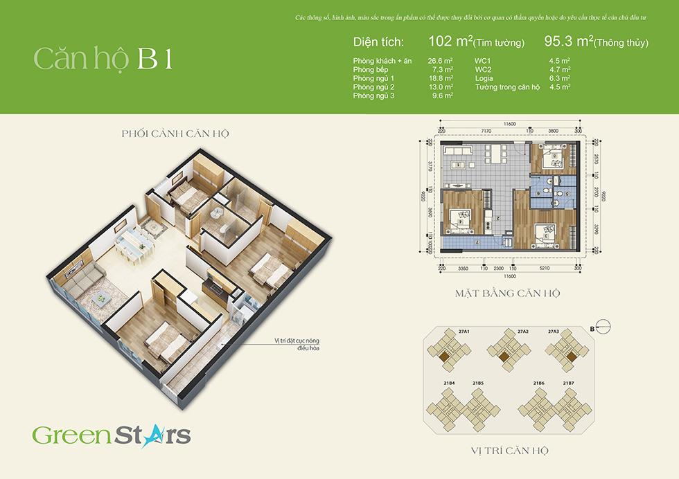 cho thuê chung cư green stars - căn B1