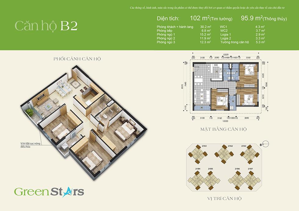 cho thuê chung cư green stars - căn B2