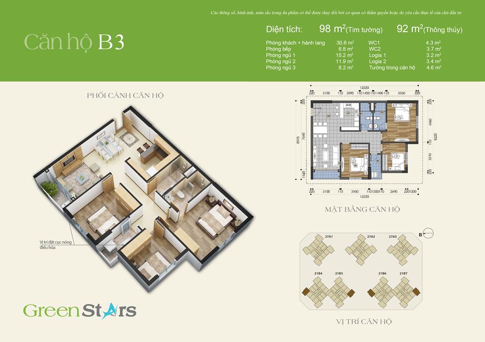 cho thuê chung cư green stars - căn B3