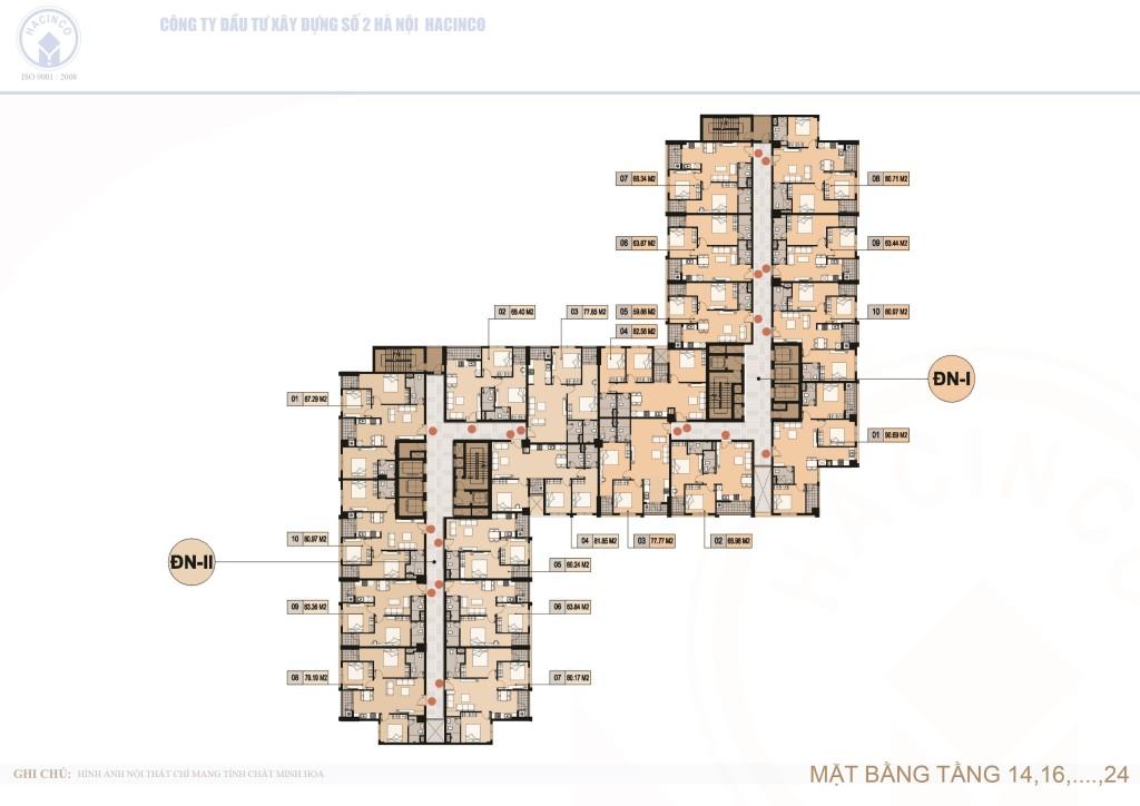 mặt bằng chung cư hà nội center point tầng 14,16,18,20,22 và 24