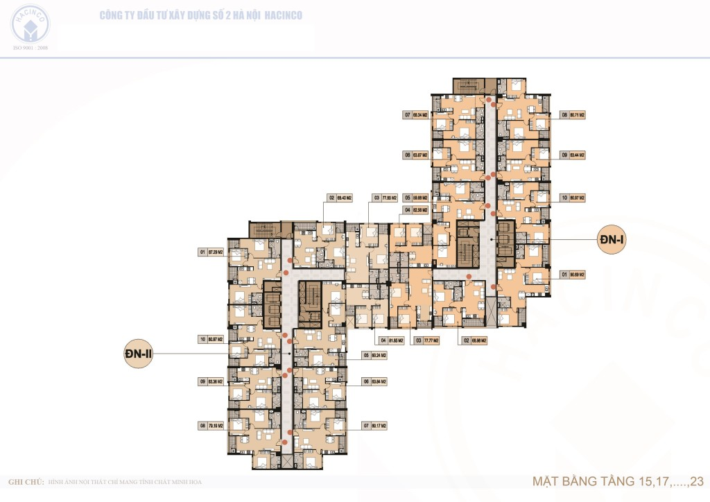 mặt bằng chung cư hà nội center point tầng 15,17,19,21 và 23