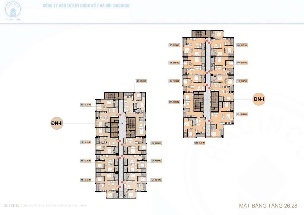 mặt bằng chung cư hà nội center point tầng 26 và 28