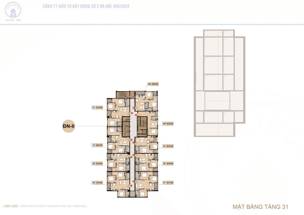 mặt bằng chung cư hà nội center point tầng 31