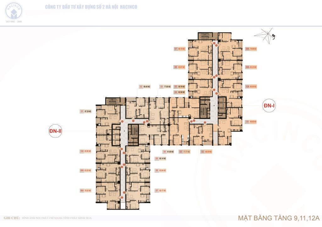 mặt bằng chung cư hà nội center point tầng 9,11,12A