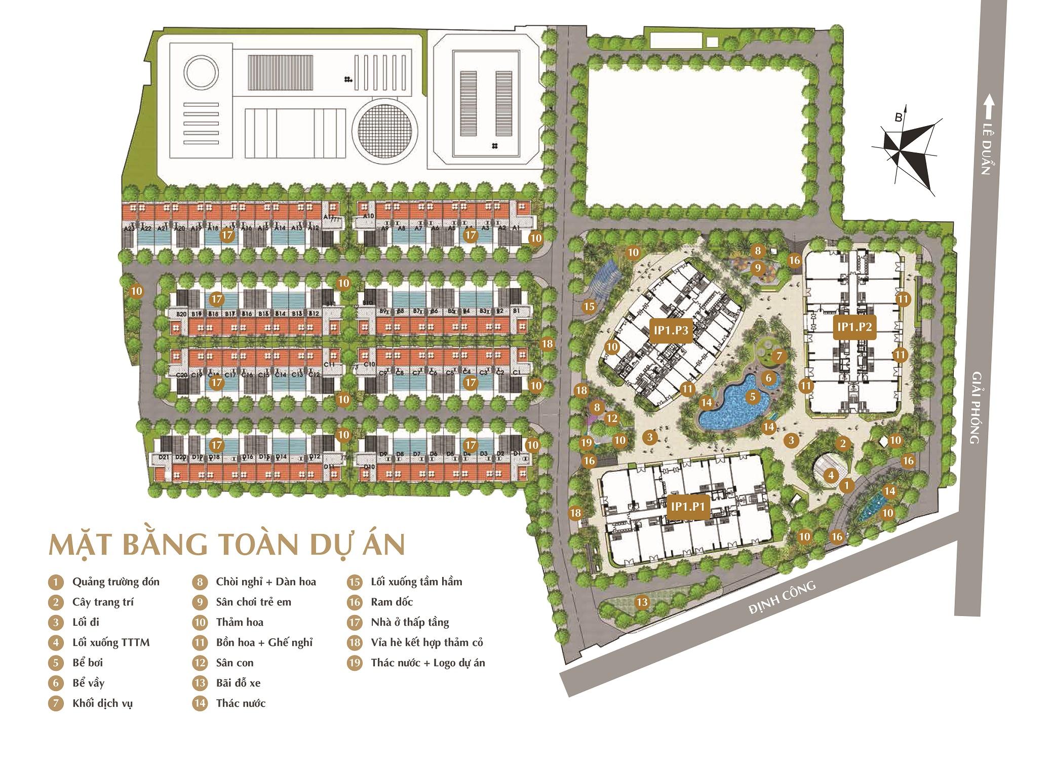 mặt bằng tổng thể chung cư imperial plaza