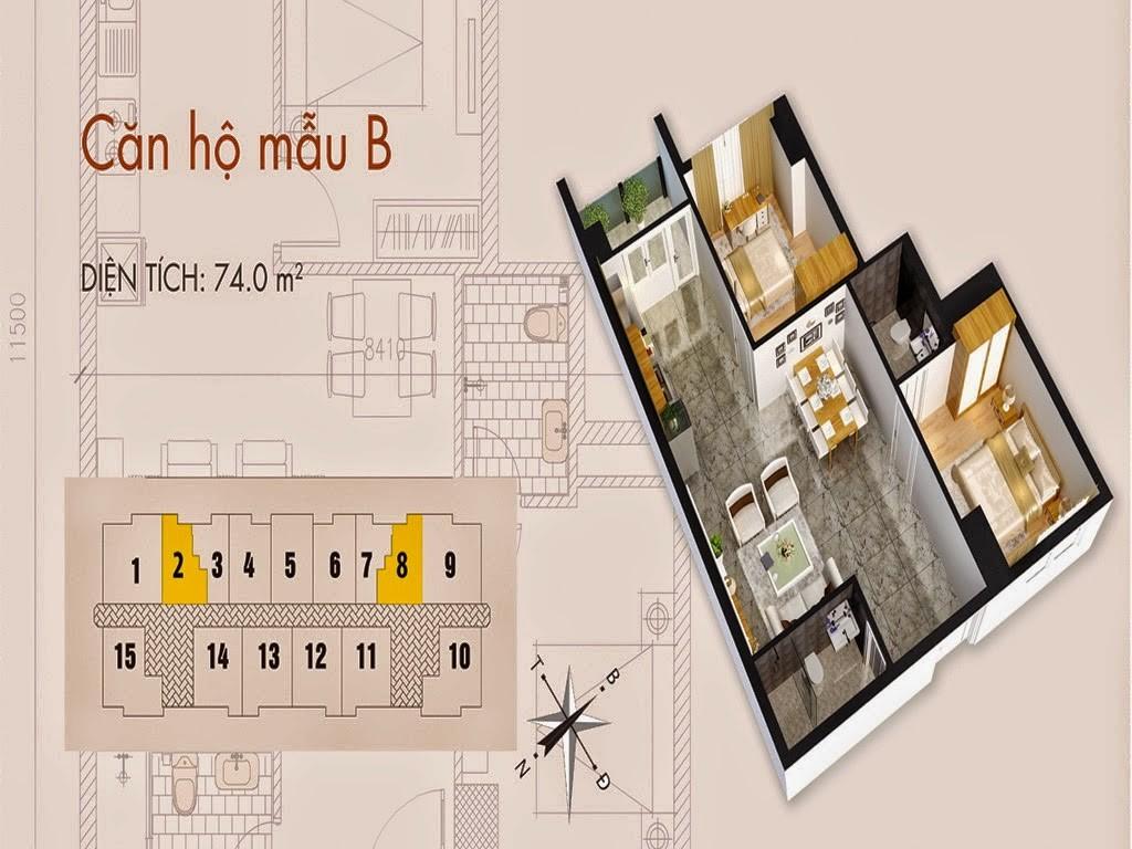 Tòa T02 căn 74m2 chung cư cho thuê C37 Bộ Công An Bắc Hà Tower
