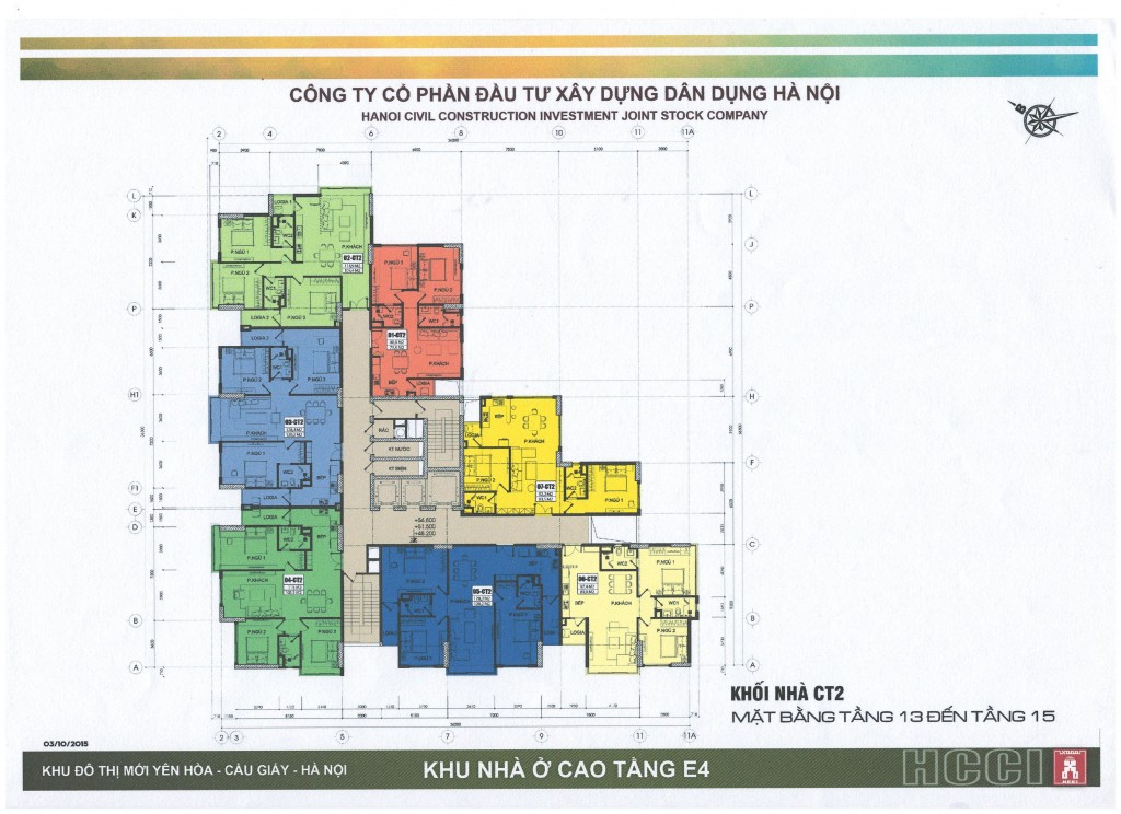 Mặt bằng tòa CT2 chung cư E4 Yên Hòa tầng 13 - 15