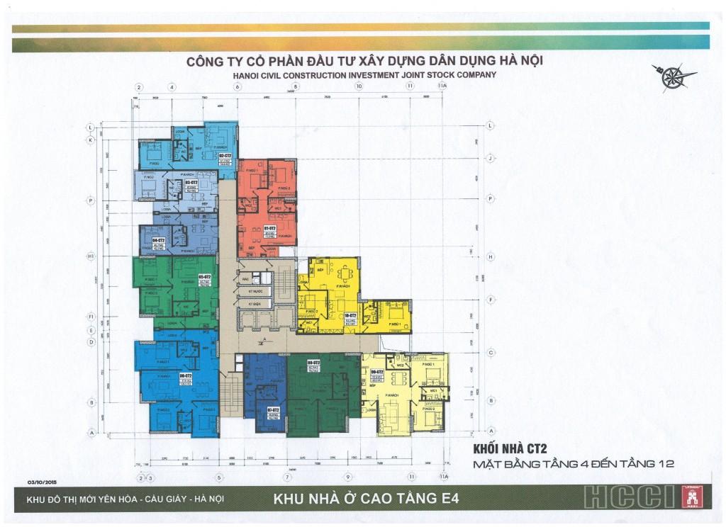 Mặt bằng tòa CT2 chung cư E4 Yên Hòa tầng 4 - 12