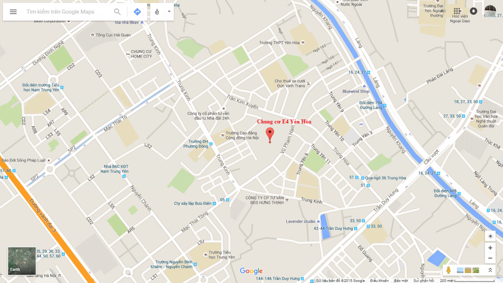 Vị trí chung cư Park View City E4 Yên Hòa