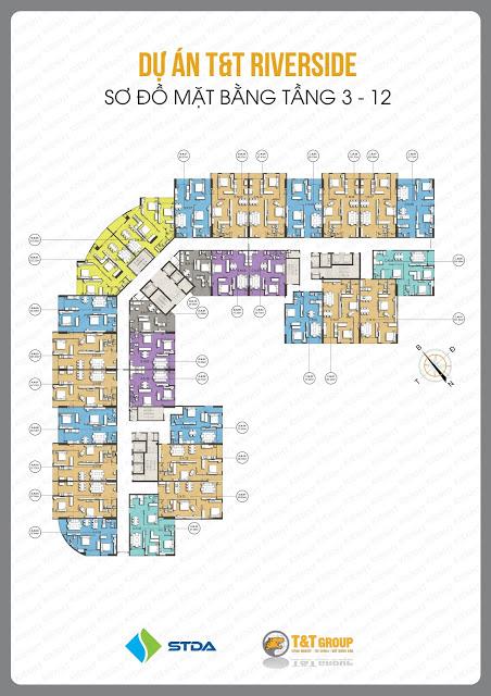 Mặt bằng tầng 3 - 12 chung cư 440 Vĩnh Hưng - T&T Riverside