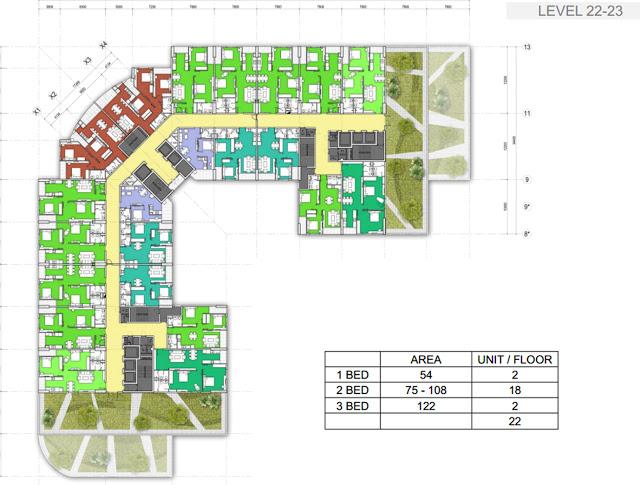 Mặt bằng tầng 22 - 23 chung cư 440 Vĩnh Hưng - T&T Riverside