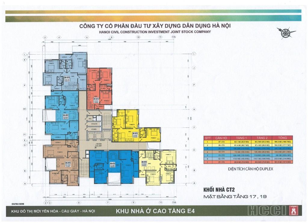 Mặt bằng tòa CT2 chung cư E4 Yên Hòa tầng 17 và 19