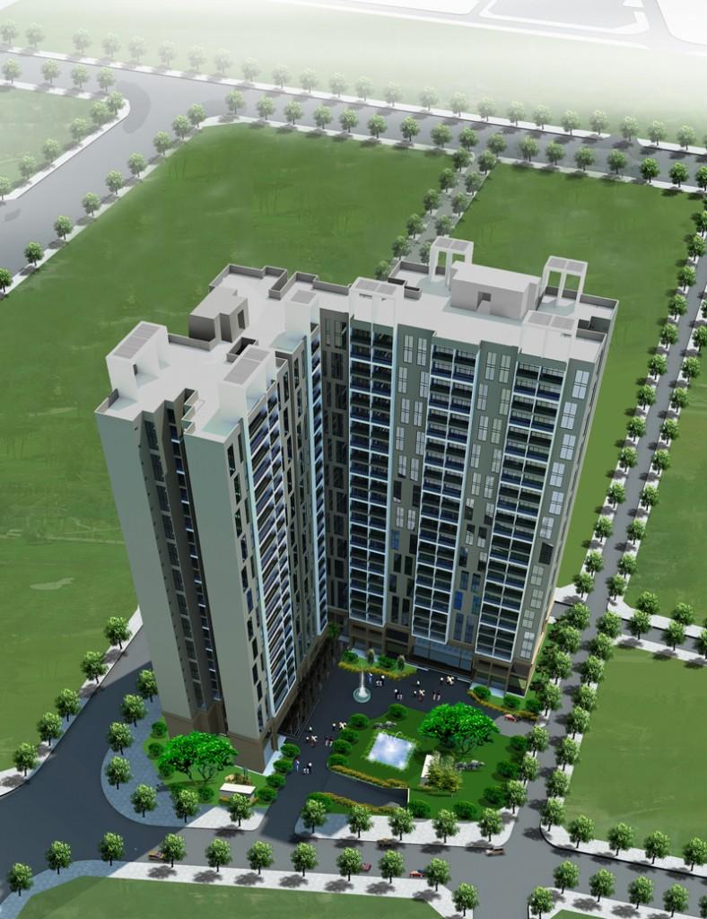 Phối cảnh tổng thể dự án nhà ở cao tầng E2 Chelsea Residences