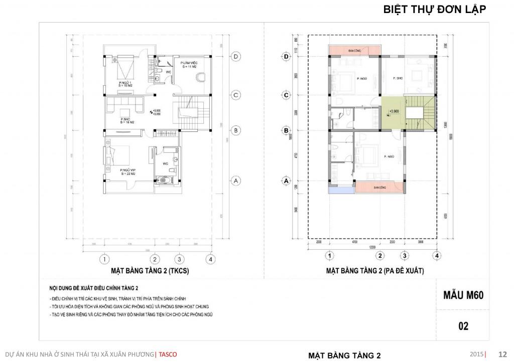 thiết kế biệt thự đơn lập tầng 2