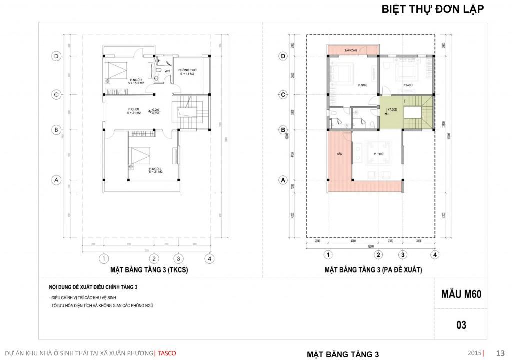 thiết kế biệt thự đơn lập tầng 3