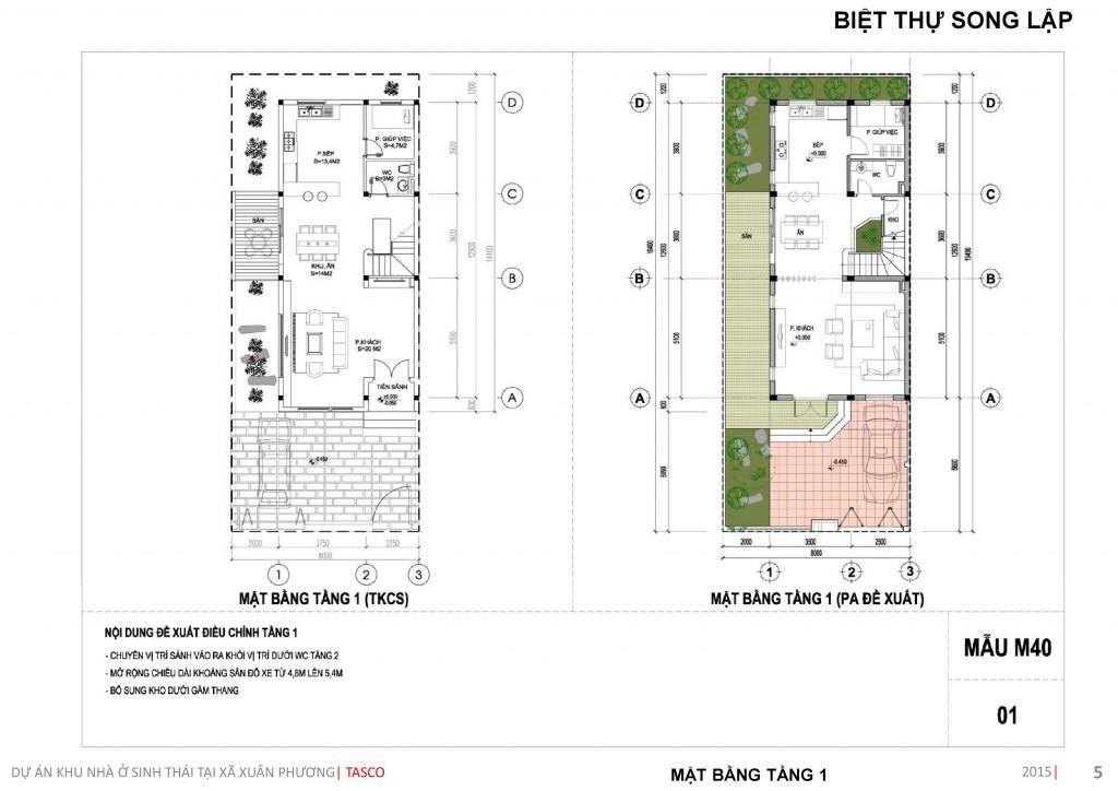 thiết kế biệt thự song lập tầng 1