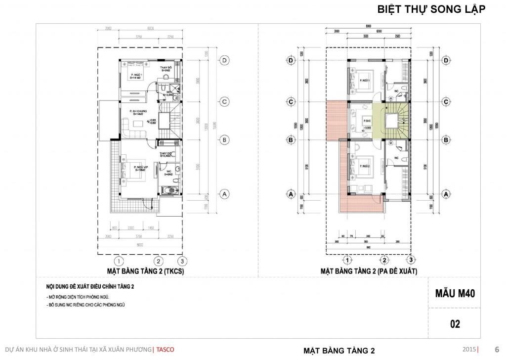 thiết kế biệt thự song lập tầng 2