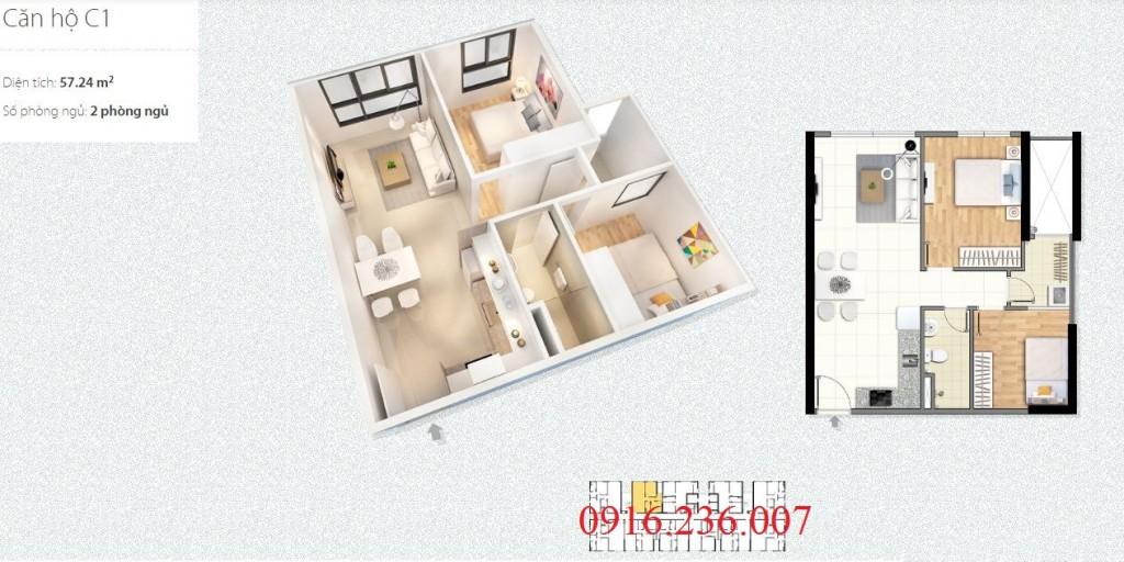 thiết kế căn hộ c1 chung cư c1 c2 xuân đỉnh