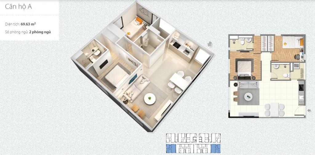 thiết kế căn hộ loại a chung cư c1 c2 xuân đỉnh