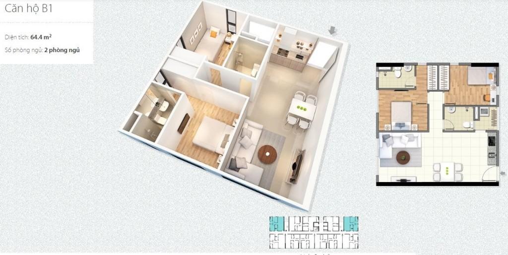 thiết kế căn hộ b chung cư c1 c2 xuân đỉnh