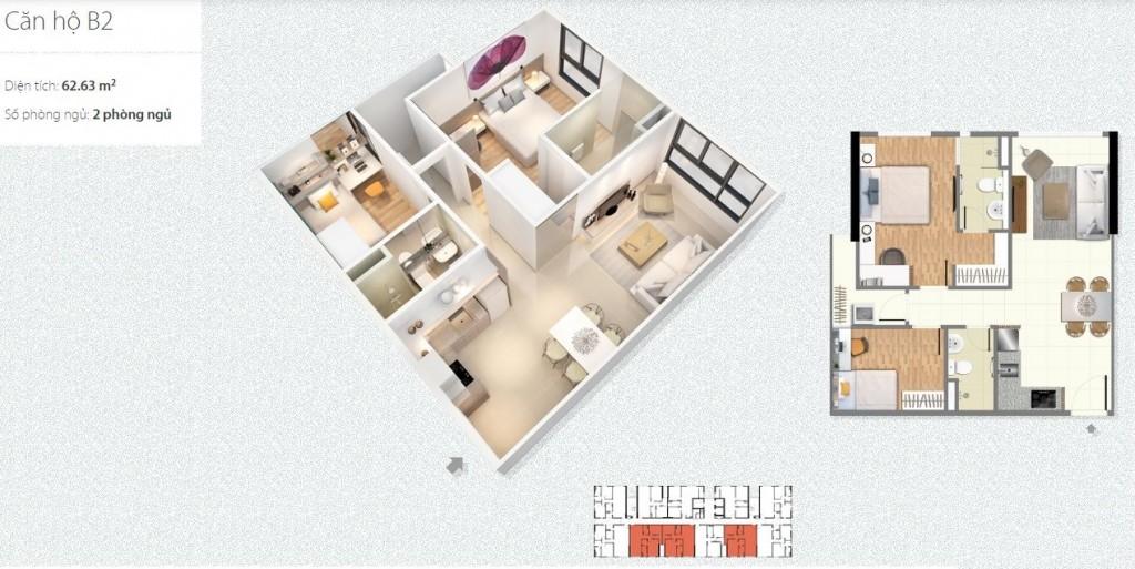 thiết kế căn hộ b2 chung cư c1 c2 xuân đỉnh