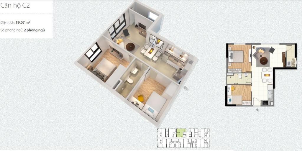 thiết kế căn hộ c1 c2 chung cư xuân đỉnh