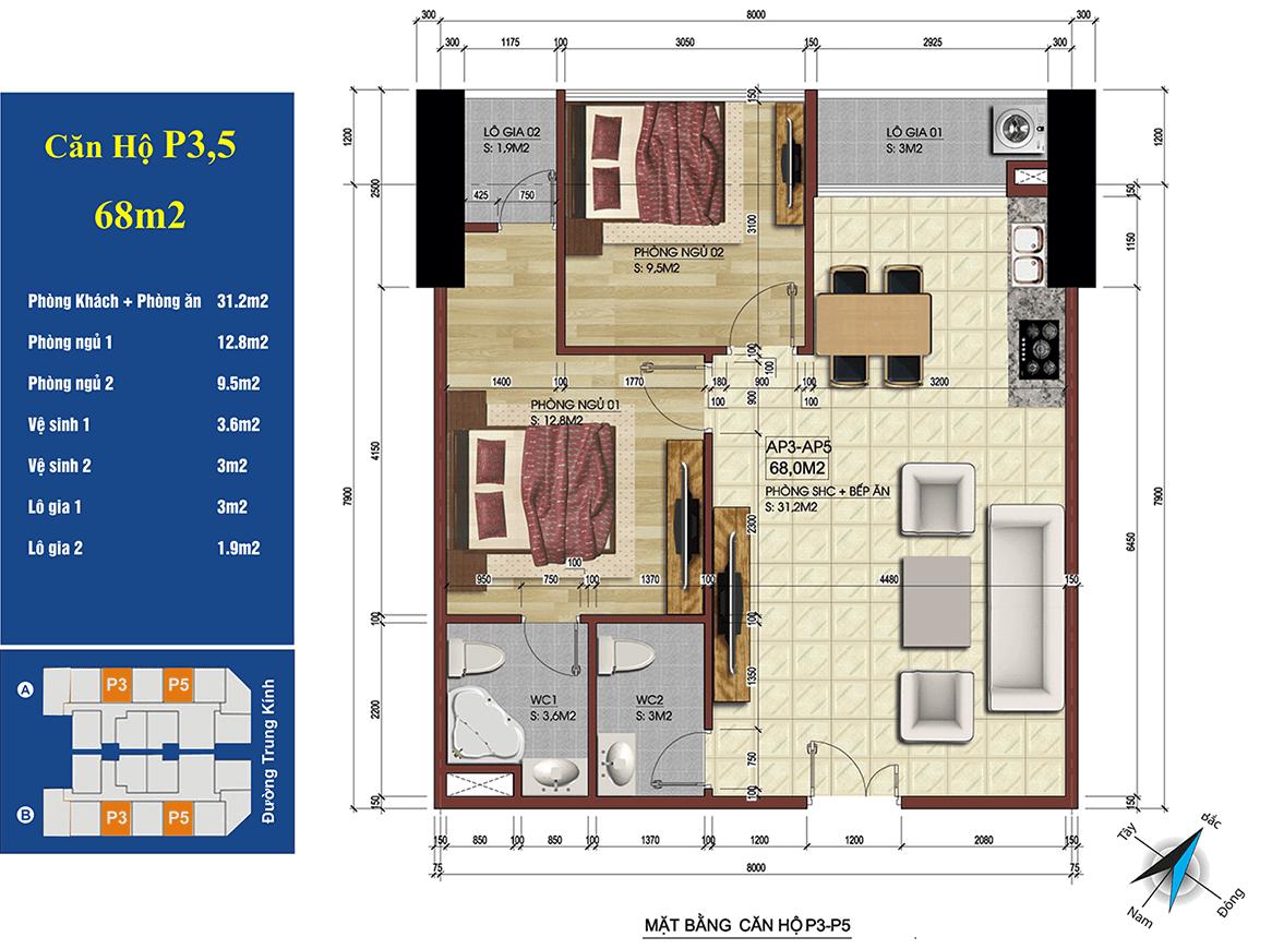 căn 3,5 chung cư 219 trung kính