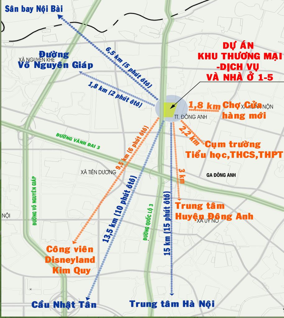 vị trí khu thương mại nhà ở 1-5 đông anh