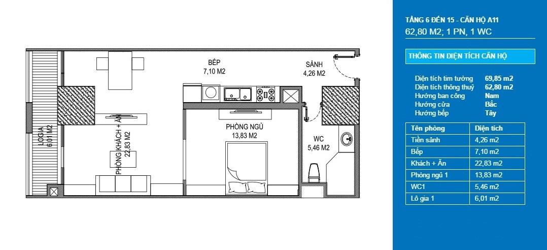 căn hộ a11 officetel chung cư sunshine center