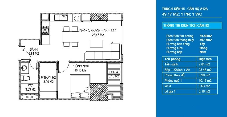 căn hộ a12a officetel chung cư sunshine center
