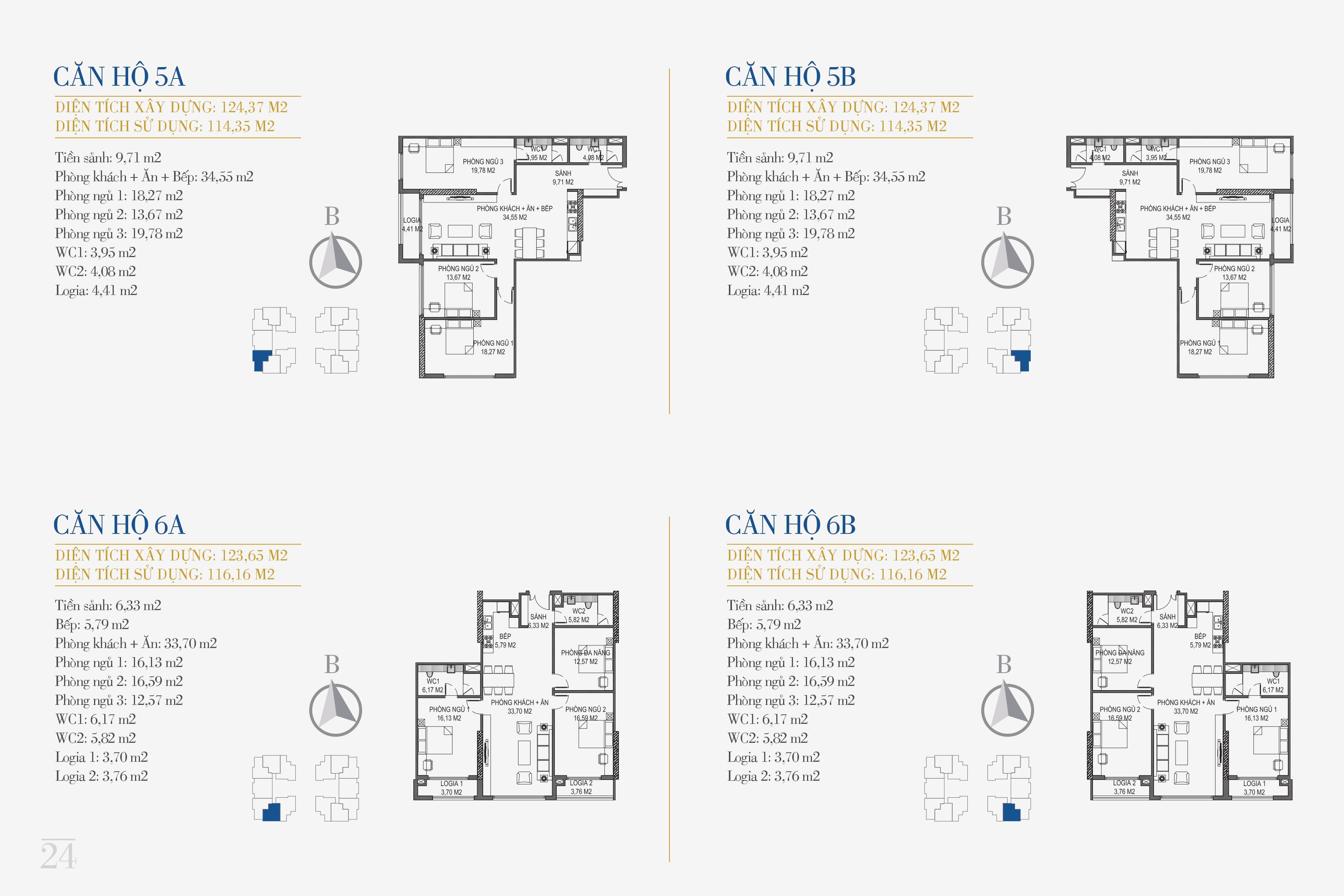 thiết kế căn hộ chung cư sunshine center căn 5a, 5b, 6a, 6b